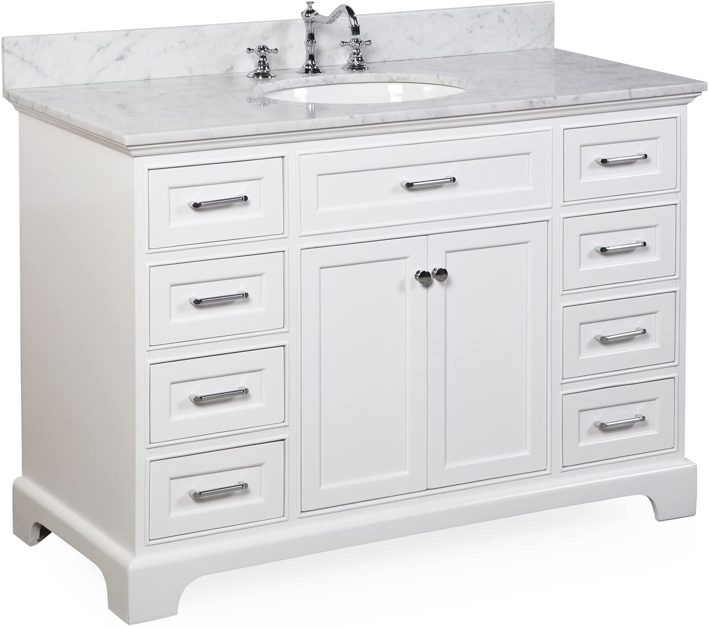 Aria 48-inch Bathroom Vanity Carrara White Includes a White Cabinet with Soft Close Drawers, Authentic Italian Carrara Marble Countertop, and White Ceramic Sink
