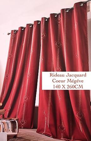 Double Rideau Jacquard Coeur Megève Theme Montagne 140 X 260cm ...