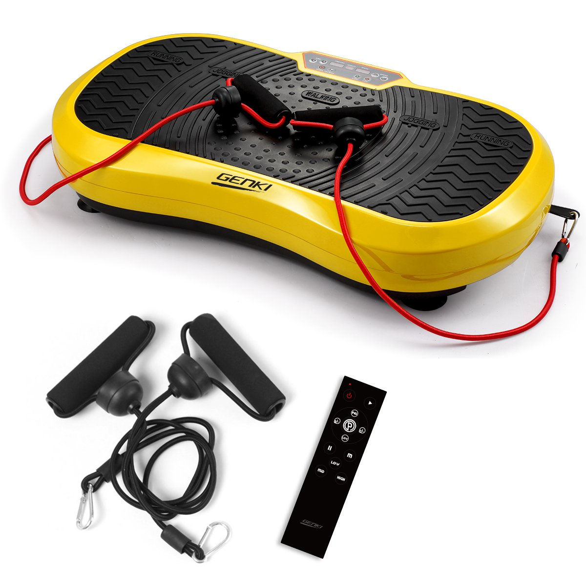 GENKI YD-1008YE Fitness Slim Full Body Vibration Platform Fitness Machine with 2 Bands & Remote, Max User Weight 330Lbs