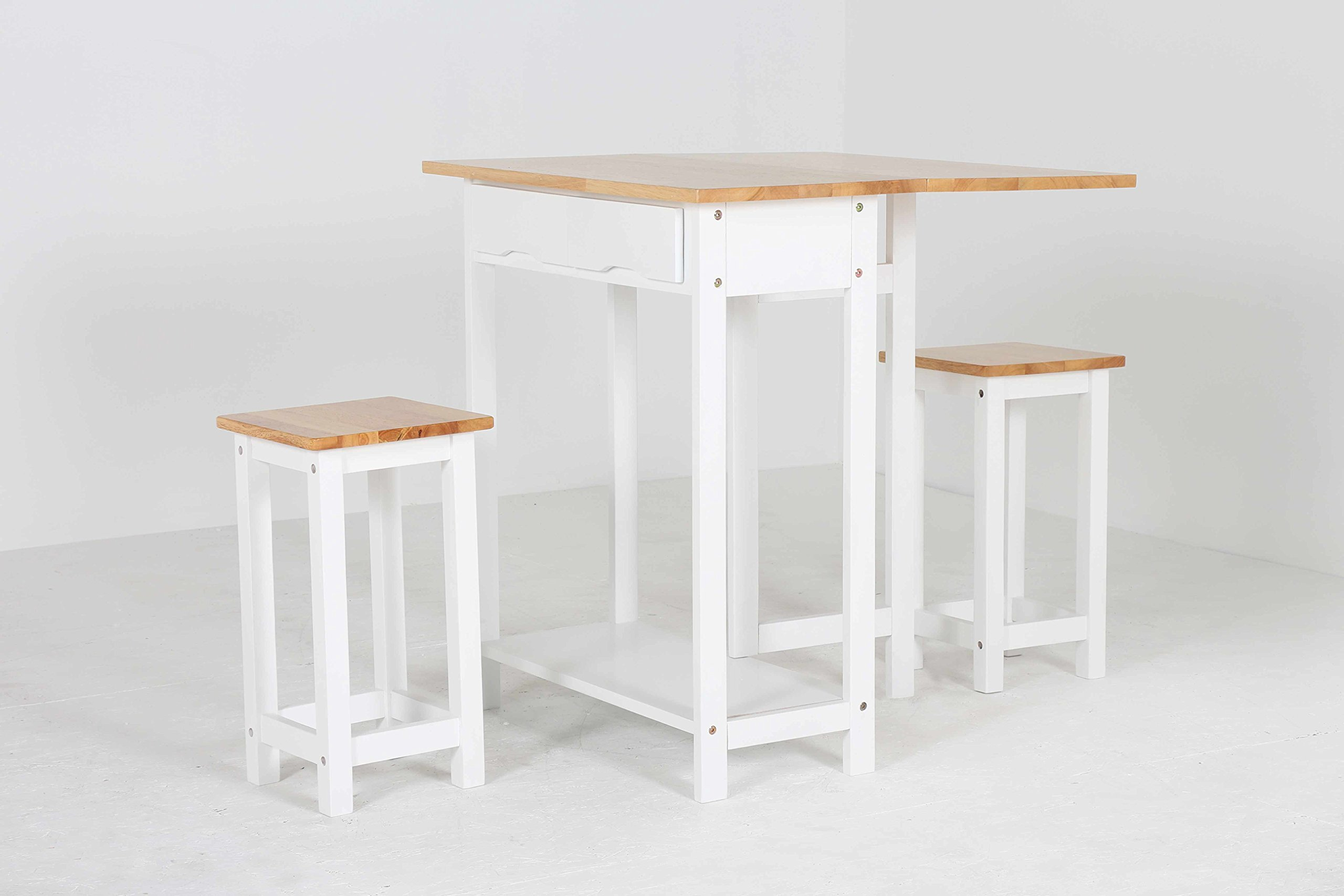 Oliver Smith - 2 Person 30'' x 30'' - Solid Wood - Space Saving Drop Leaf Table Set - 3 Piece Set - 1 Table - 2 Stools - White and Natural - 707A
