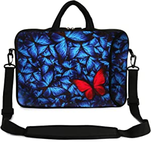 "Violet Mist 13"" 15"" 15.6"" Neoprene Laptop Sleeve Bag Waterproof Sleeve Case Adjustable Shoulder Strap External Pocket(14"" 15""-15.6"", Butterfly)"