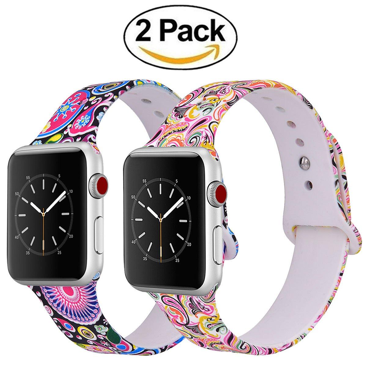 Vigoss耐久性印刷Apple Watchバンド38 mm 42 mmレディース、ソフトシリコン花柄ストラップ交換iWatchバンド花Wristbands for Apple Watchシリーズ3 /2 /1スポーツエディション 38mm 38mm|2 pack#3 2 pack#3 38mm B07F7V3Y66