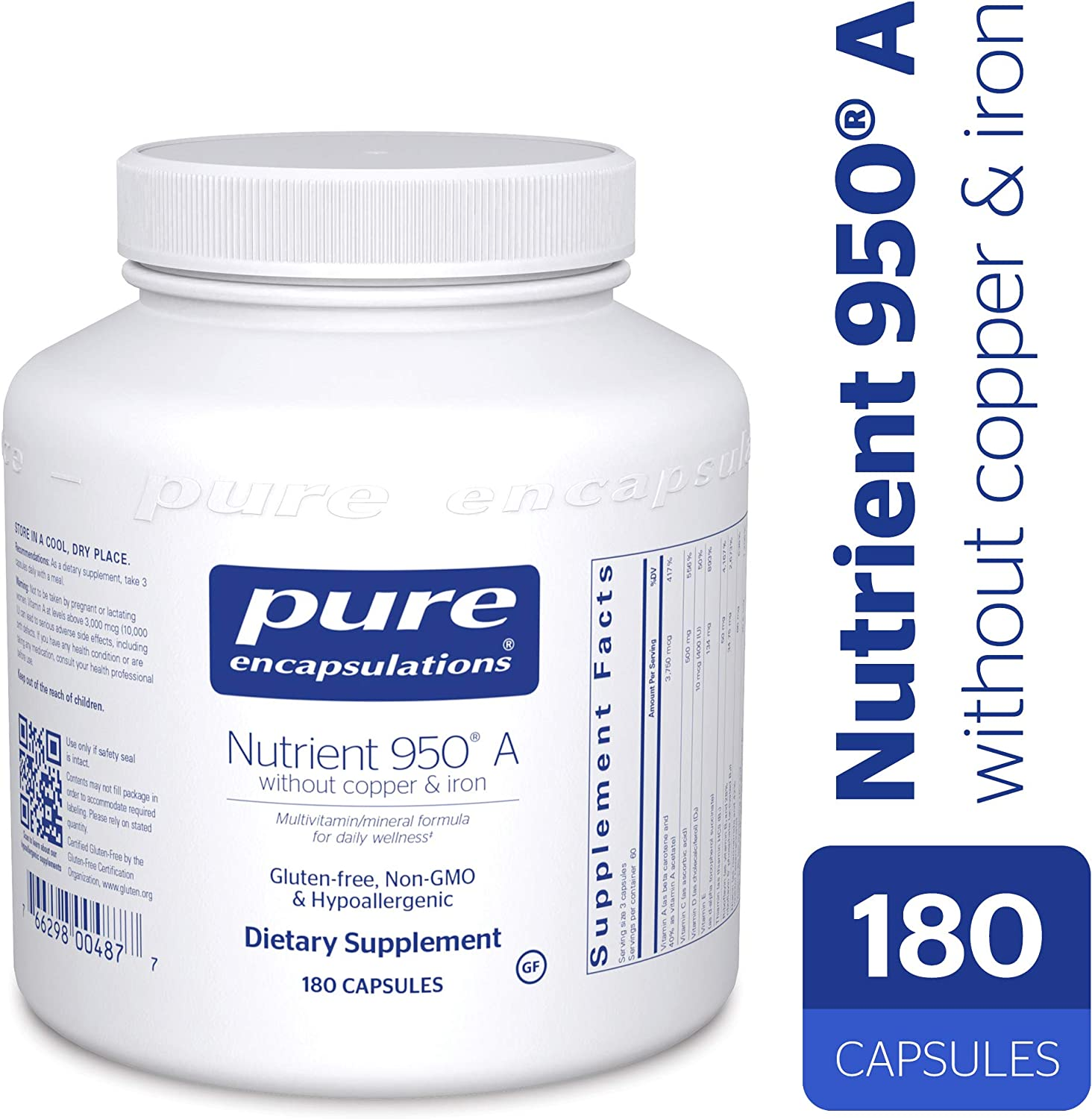 Pure Encapsulations – Nutrient 950 A Without Copper Iron – Hypoallergenic Multi-Vitamin Mineral Formula for Optimal Health* – 180 Capsules
