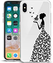Girlscases® | iPhone XS Hülle, iPhone X/10 Hülle Frau aus Schmetterlingen Schutzhülle aus Silikon mit Frau aus Schmetterlingen Aufdruck/Motiv Glänzend | Farbe: Schwarz