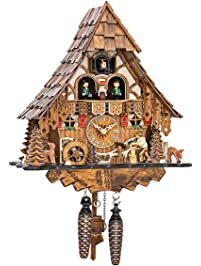 quartz cuckoo clock black forest house with moving wood chopper and mill wheel with music