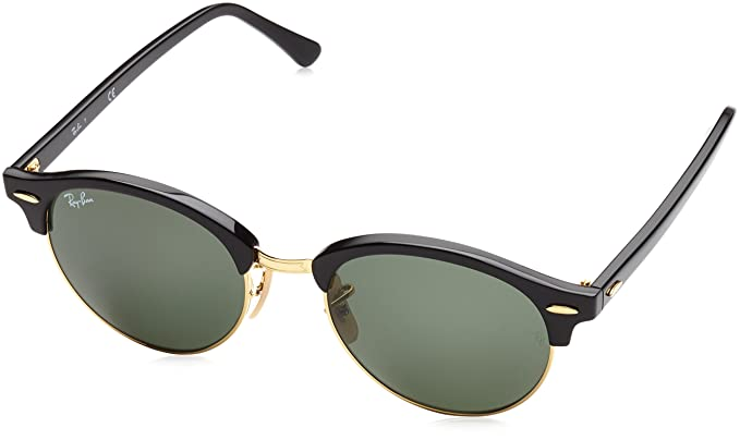 Ray-Ban Clubround RB4246 51 Non Polarized Sunglasses Black Frame/Green  Lenses 51mm