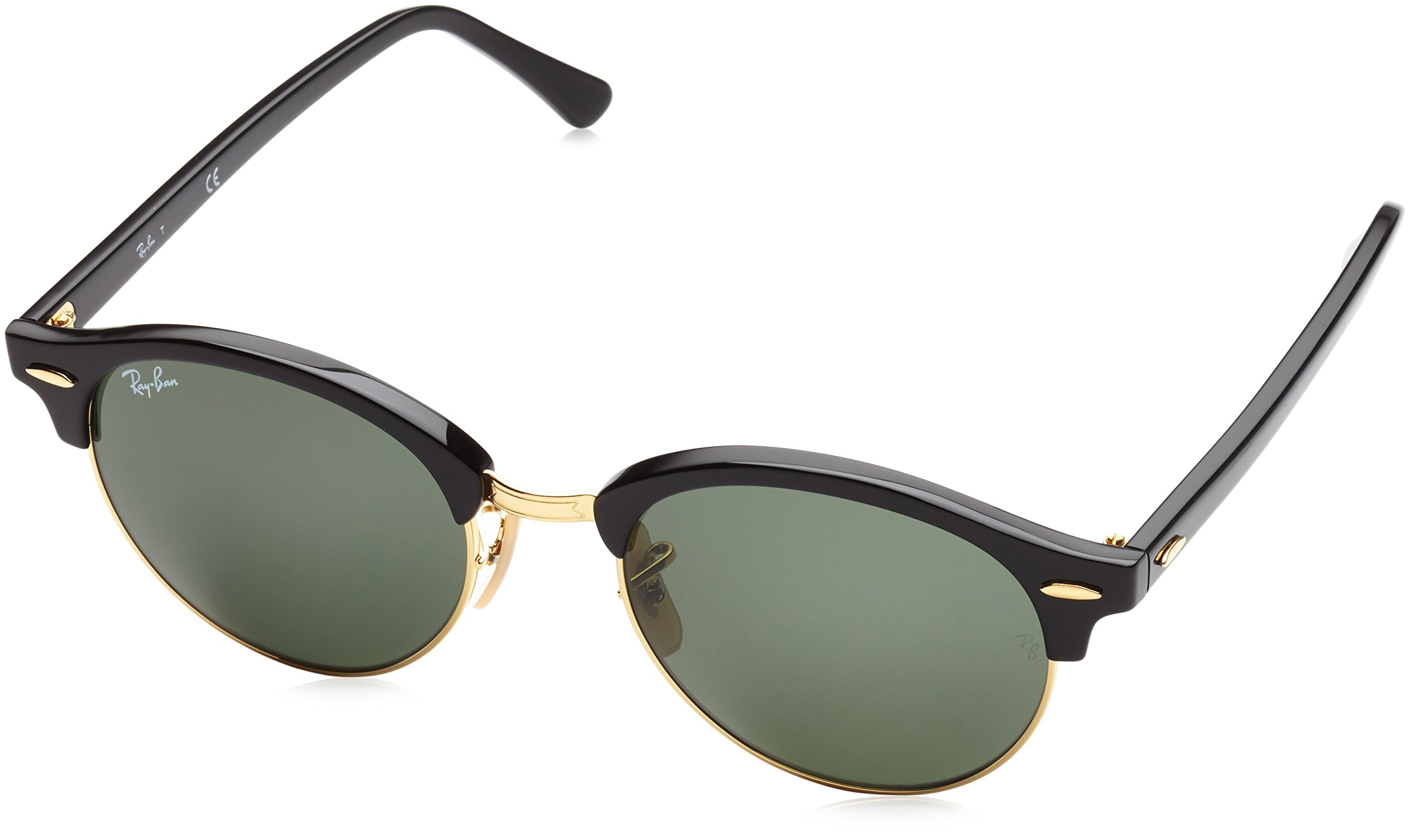 Ray-Ban Clubround RB4246 51 Non Polarized Sunglasses Black Frame/ Green Lenses 51mm by Ray-Ban