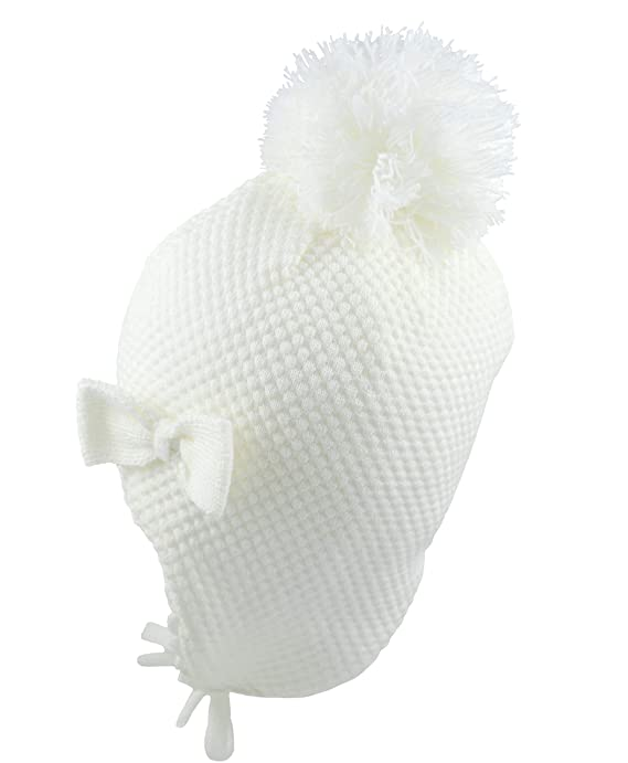 Pesci Baby Boys Girls Winter Trapper Hat Wooly Waffle Knitted with Ear Flaps and Chin Ties