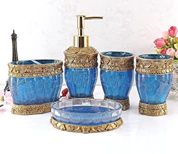 HONGS kontinental Luxus 5tlg BAD-WC Garnitur Badezimmer Set Bürste Becher  Seifenspender Badgarnitur ,Blau
