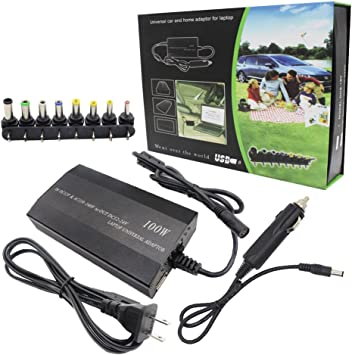 Universal Notebook Power Supply Laptop USB Charger W// Car Adapter 100W