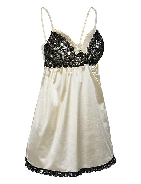 b2dbda7313d Rocorose Womens Lace Lingerie Satin Chemise Lace Sleepwear with G-String