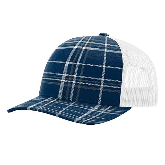 Image Unavailable. Image not available for. Color  Twill Mesh Back Trucker  Snapback Hat -- NAVY CHARCOAL PLAID WHITE c1c5d792f5b2