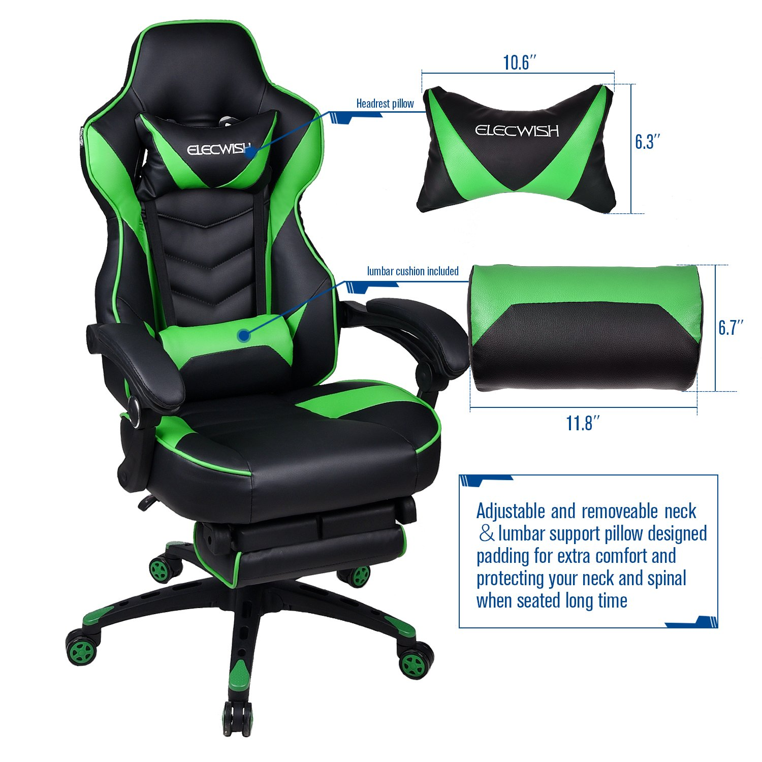 Enjoyable Gaming Chair Black Green For Adults With Footrest High Back Swivel Computer Office Chair With Pillows And Lumber Support Ocoug Best Dining Table And Chair Ideas Images Ocougorg