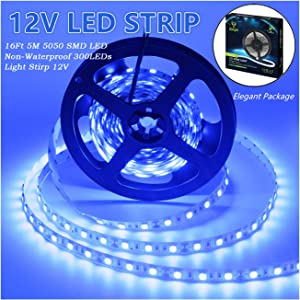 Led Strip Lights, IEKOV 5050 SMD 300LEDs Flash Strip Light Non-Waterproof Flexible Xmas Decorative Lighting Strips, LED Tape, 5M 16.4Ft DC12V (Blue)