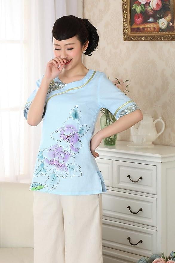 ACVIP Damen Pfingstrose Muster Bluse mit Rund Ausschnitt Kostüm Blau:  Amazon.de: Bekleidung