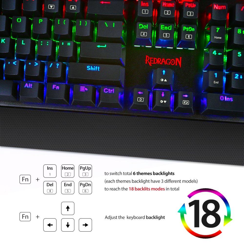Redragon K557 KAlA RGB Backlit Waterproof Mechanical Gaming Keyboard with Blue Switches, Anti-ghosting 104 Keys by Redragon (Image #4)