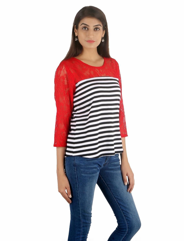 85a1ec308b467b STakriti1 Girls Women Hosiery Strip Net Round Neck Top  Amazon.in  Clothing    Accessories