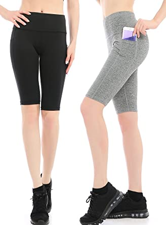 f376123651a Image Unavailable. Image not available for. Color  ABUSA Women s High WAIS Tummy  Control Yoga Running Workout Leggings Sports Shorts Side Pockets (Pack