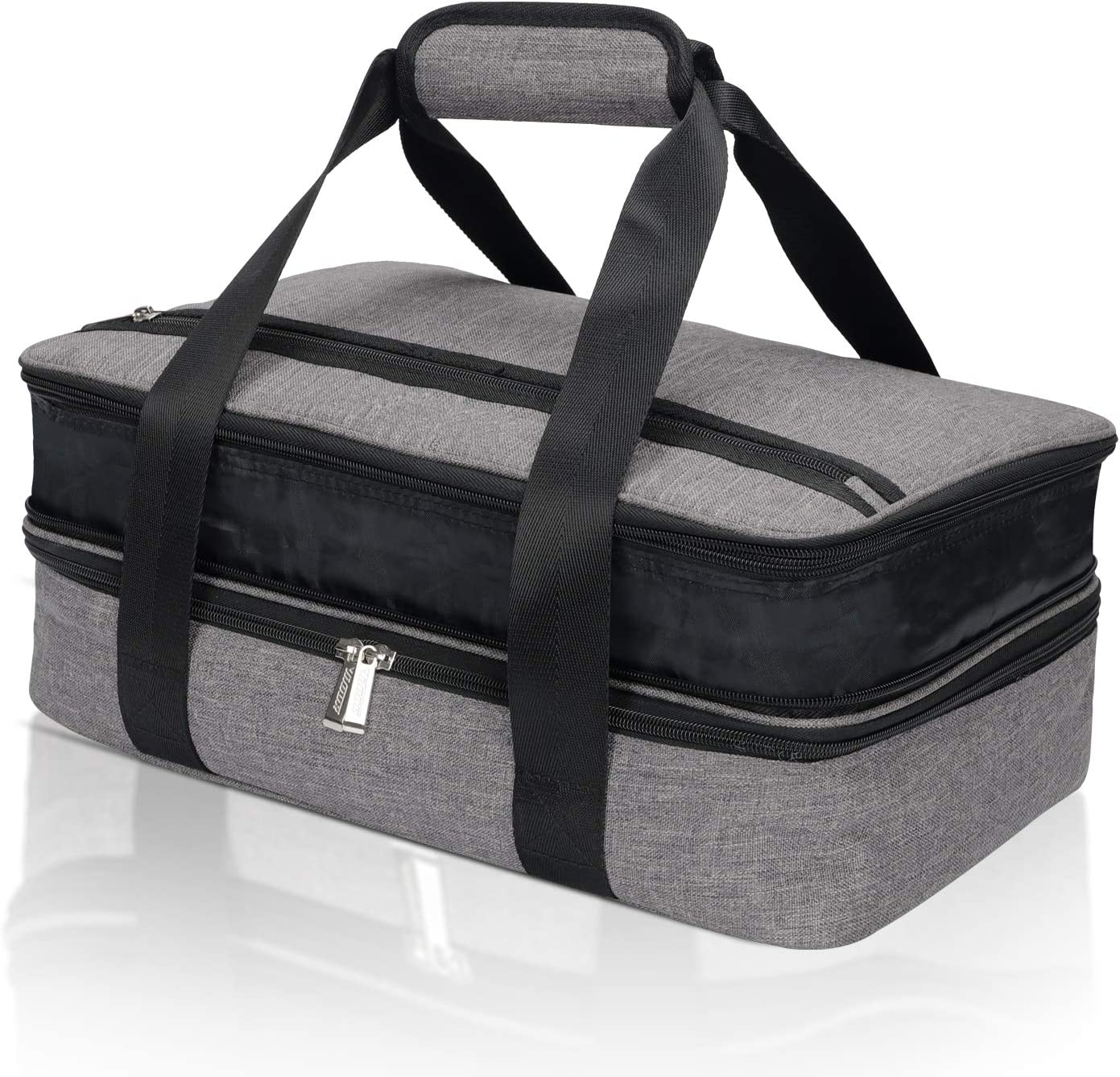 Insulated Double Casserole Carrier, Expandable Thermal Tote Bag keeps Hot or Cold Food, Casserole Dishes Travel Bag For Picnic Potluck Beach Day Trip Camping Hiking,15.7 x 9.8 x 4.3 inch
