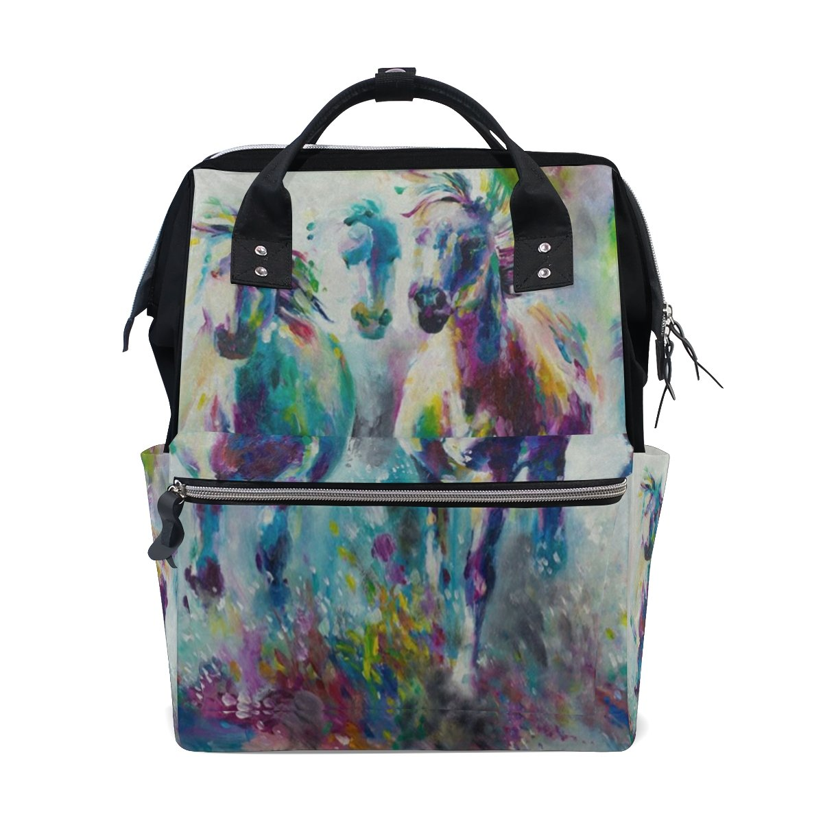 Diaper Bags Backpack Purse Mummy Backpack Nappy Bag Cool Cute Travel Backpack Laptop Backpack with Horse Painting Daypack for Women Girls Kids