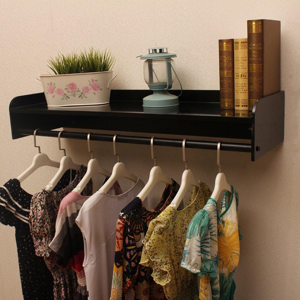 Black 120CM Peaceip Solid Wood Iron Coat Rack Retro Hook Wall Hanger Combination Multi-Functional Clothes Rack Suitable for Living Room Bedroom Study Cloakroom Black, White, Wood Grain Black(80CM,100CM,120C
