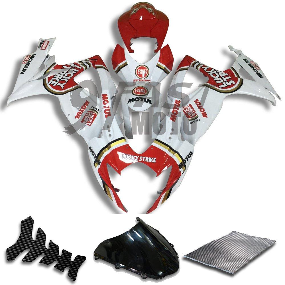 9FastMoto suzuki スズキ 2006 2007 GSX-R600 GSX-R750 K6 06 07 GSXR 600 750 K6 用フェアリング オートバイフェアリングキット ABS 射出成形セット スポーツバイク カウル パネル (ホワイト & レッド) S0800 B07BMWP2ND