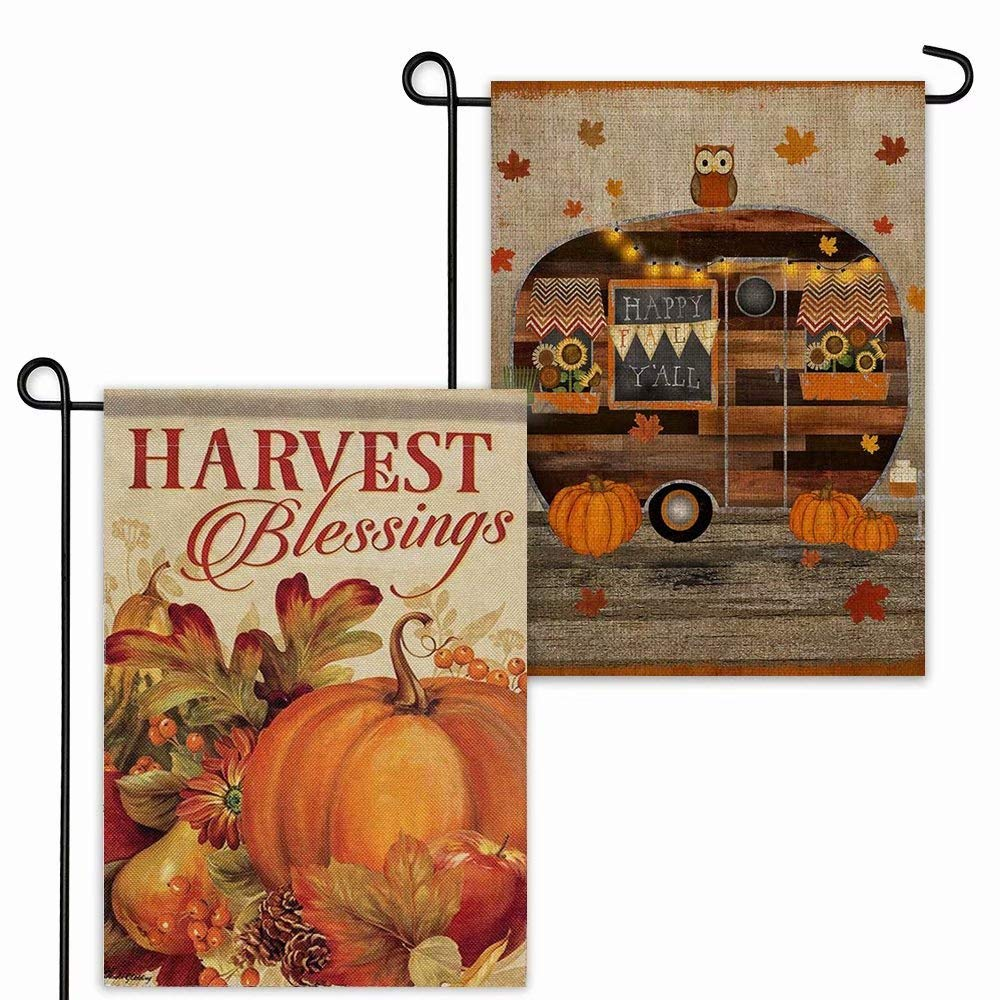 YBB Thanksgiving Fall Burlap Garden Flag, Double Sided 12 x 18 Inch Vertical Pumpkin Decorative Autumn Harvest Blessings House Flags for Home Indoor Yard Outdoor Halloween Thanksgiving Decor