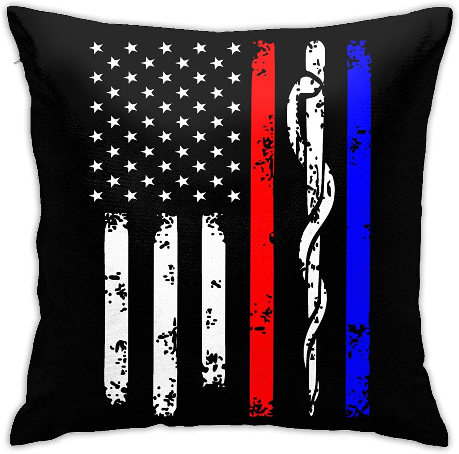 Wanaiober Police & Firefighter & EMT Flag Pillow Cases Double Sided Printing Bolster Square Pillow Cases Hidden Zipper 20x20inch