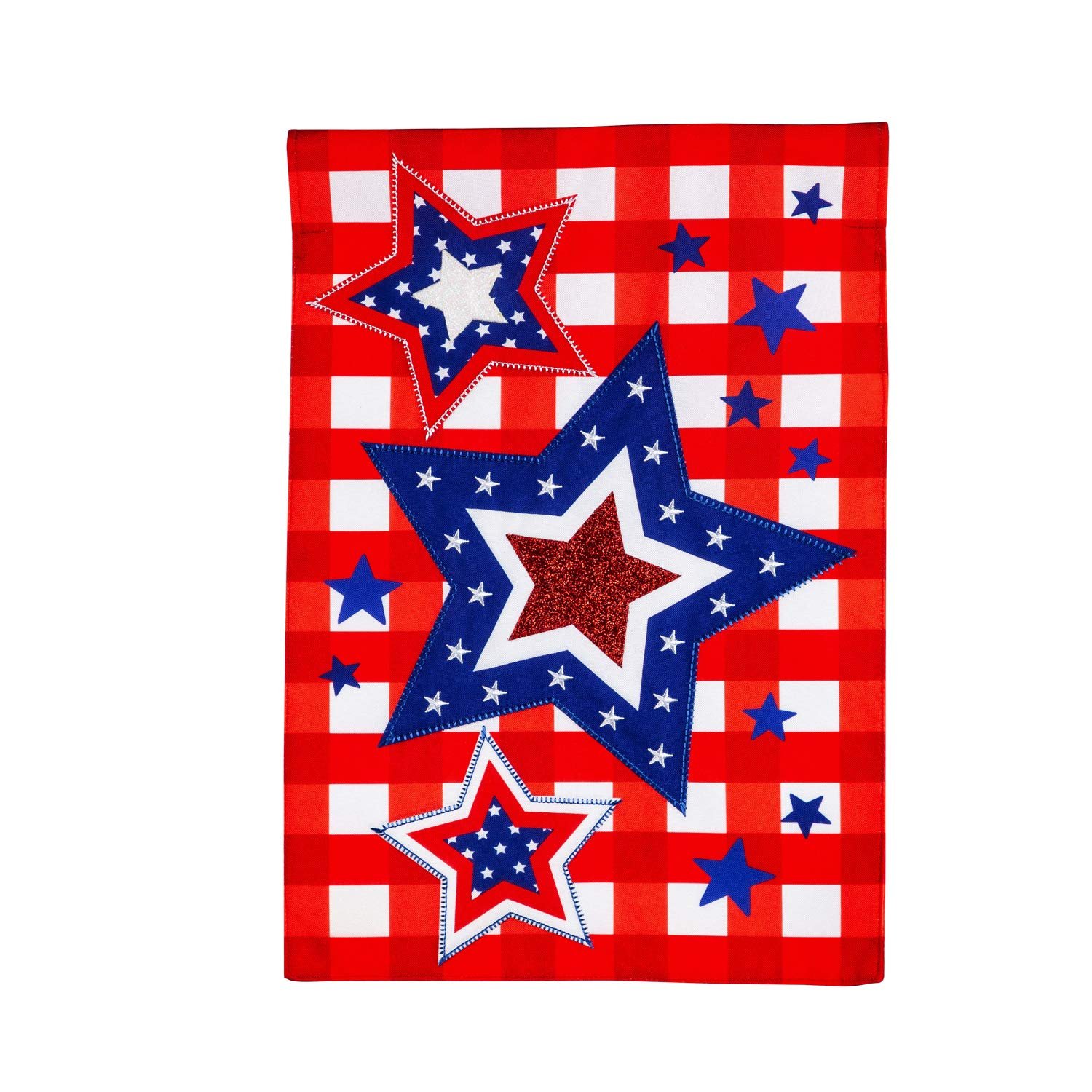 Evergreen Flag Beautiful Patriotic Star Trio Linen Garden Flag - 13 x 1 x 18 Inches Fade and Weather Resistant Outdoor Decoration For Homes, Yards and Gardens