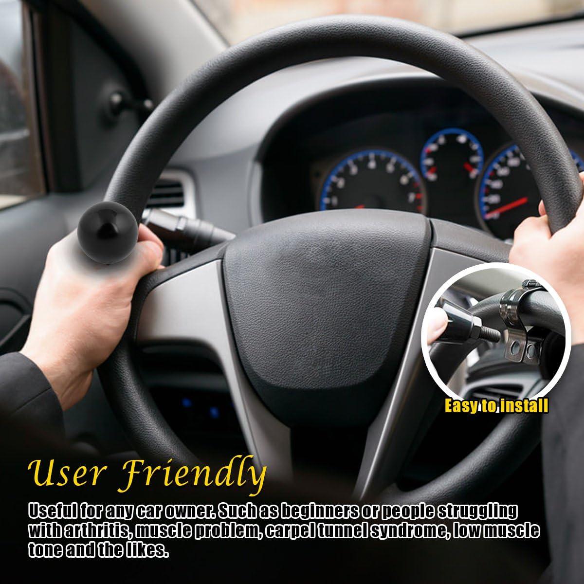 VaygWay Steering Wheel Spinner Knob- Car Suicide Handle Knob Ball- Universal Tractor Vehicle Boat Black- Wheel Accessories Arthritis Handicap Spinners: Automotive