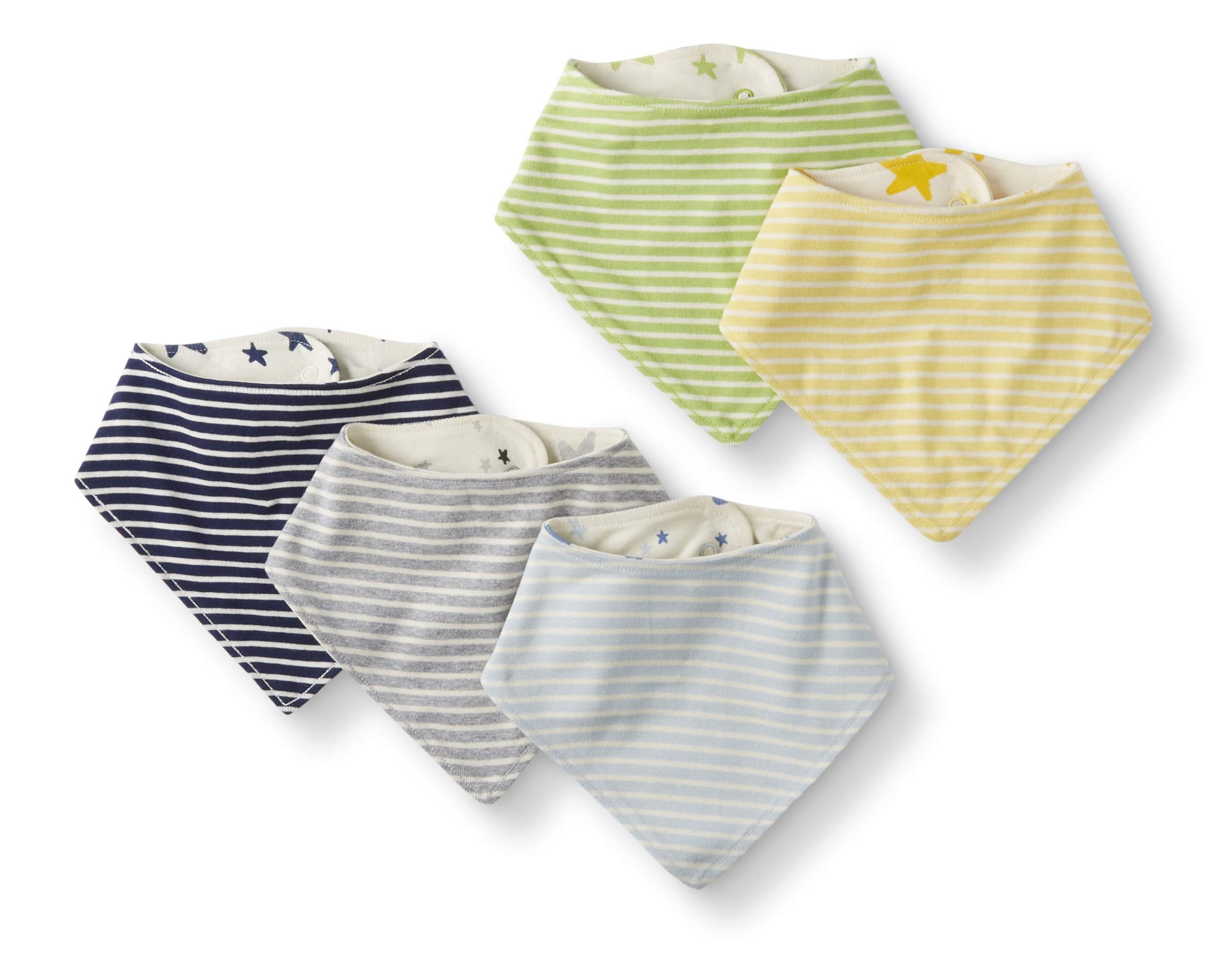 Moon and Back by Hanna Andersson Baby 5-Pack Organic Cotton Reversible Bib, Blue, One Size by Moon and Back by Hanna Andersson