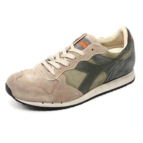 B6776 sneaker uomo DIADORA HERITAGE TRIDENT S SW beige/verde/grigio shoe man