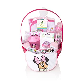 Minnie Mouse Newborn Gift Basket For Baby Girls, (16 Pcs) | Newborn Gift