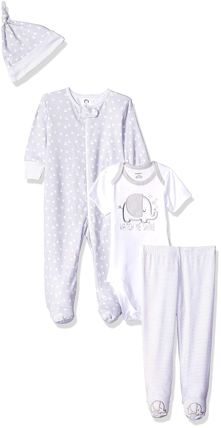 Gerber Baby 4-Piece Sleep 'N Play, Onesies, Pant and Cap