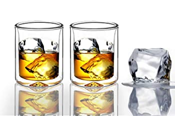 Sun's Tea Set Of 2 Strong Double Wall Insulated Whiskey Glasses
