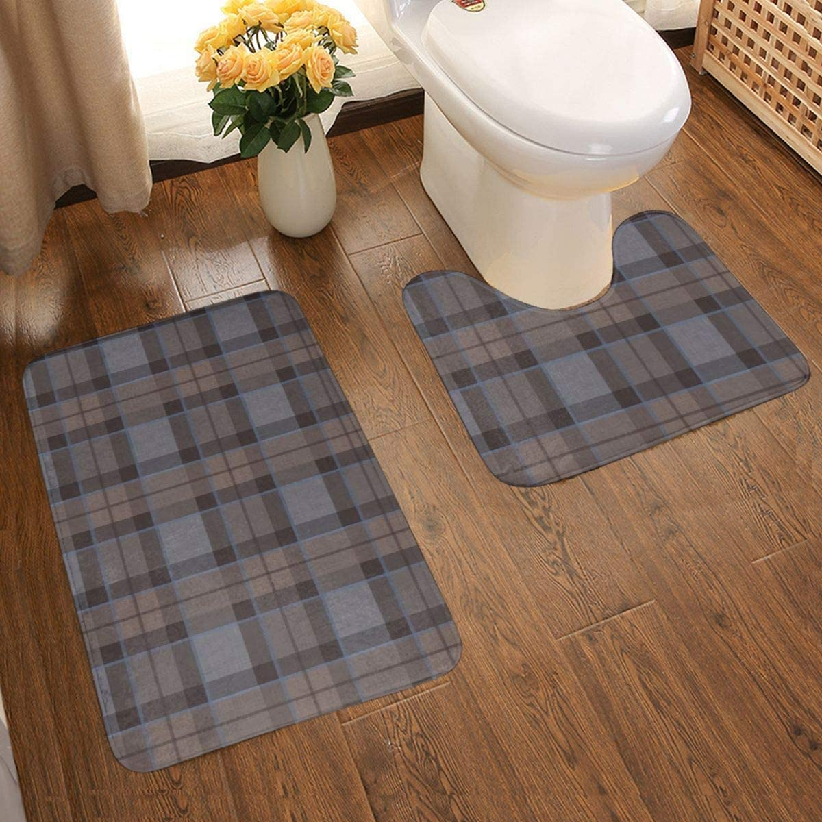2pcs//Set Bathroom Rug Set Soft Non-Slip Bath Mats Toilet Washable Mat
