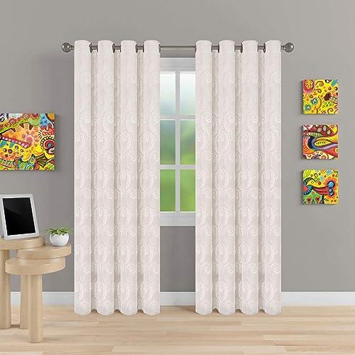 MEMIAS Window Jacquard Semi Blackout Room Darkening Curtains with Grommets, 2 Panels, Each Panel, 52 W x 95 L, Brilliant WhiteTraditional Pattern