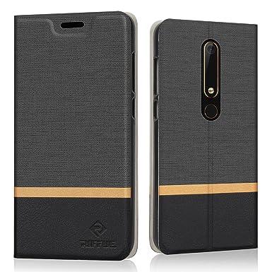 the best attitude a9572 c9d3a RIFFUE Nokia 6 2018/Nokia 6.1 Case, Slim Thin Fit Retro PU Leather Flip  Cover Folio Book Design Shock Absorbing Protective Case for Nokia 6  2018/Nokia ...
