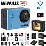 WiMiUS® 4K 30fps Sports Camera 1080p 60fps 16MP 2.0'' WiFi Waterproof Camcorder Sports Video Camera with Accessories + 2 Batteries + 16GB SD (Q1-Blue)