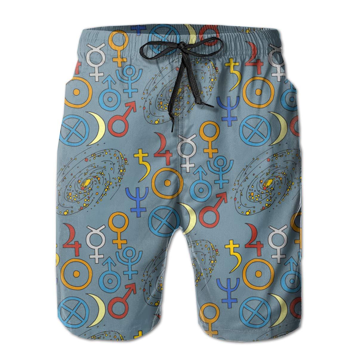 SARA NELL Mens Swim Trunks Trendy Mystic and Magic Esoteric Surfing Beach Board Shorts Swimwear
