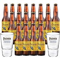 Cerveza Pacífico Clara 20 botellas de 355 ml c/u + 2 Vasos Oficiales