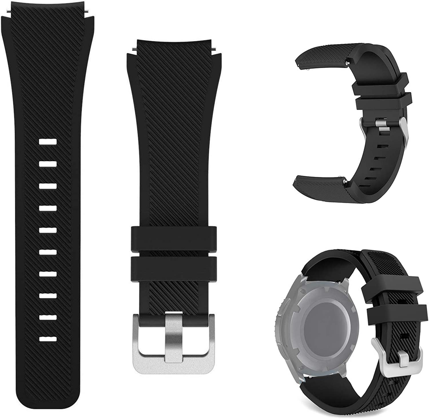 kitway Bands Compatible with Galaxy Watch 3 45mm/Gear S3 Frontier/Gear S3 Classic/Galaxy Watch 46mm, 22mm Soft Silicone Replacement Strap Wristbands for Gear S3 Frontier/S3 Classic Smart Watch