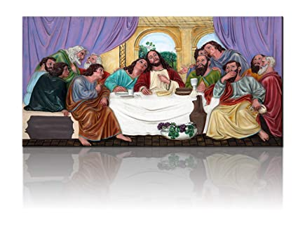 TUMOVO Christian Pictures for Wall Religious Artwork The Last Supper Cuadros de la Ultima Cena de Jesucristo Paintings 3 Piece Canvas Artwork Home ...