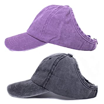 BEIRA 2 Pack Backless Ponytail Hat for Women Curl Cap Natural Curly Hair  Hat Baseball Cap Women