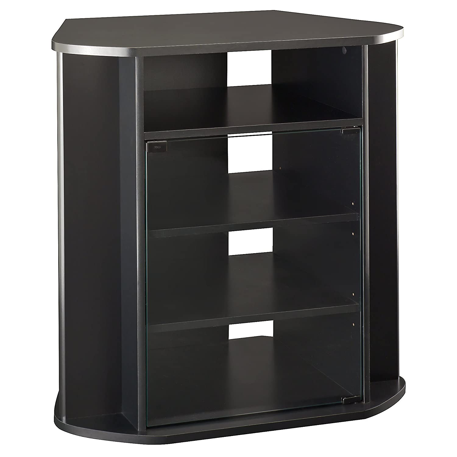 Bush Furniture Visions Tall Corner TV Stand in Black