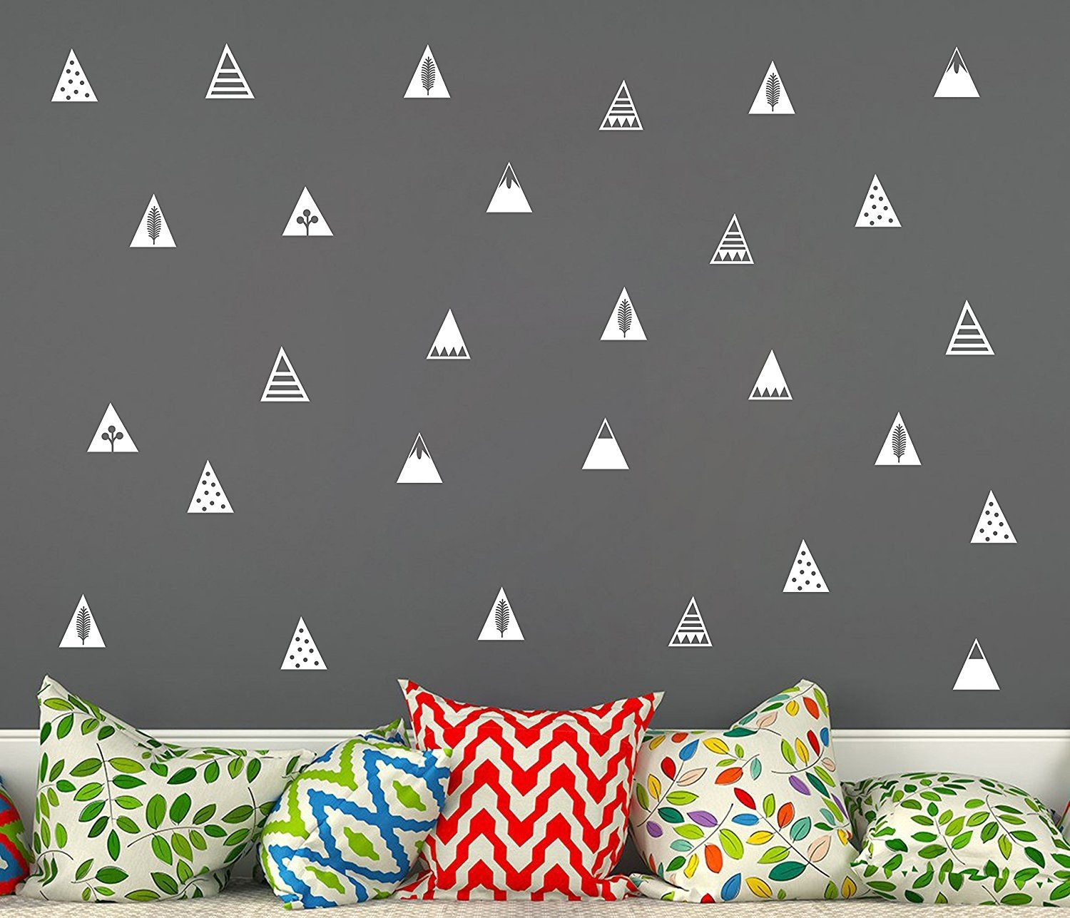 Mountain Wall Decals, 8 Different Pattern, Removable Vinyl Wall Stickers for Baby Kids Boy Girl Bedroom Nursery Decor(A16) (White) Yystore