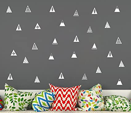 Mountain Wall Decals,8 Different Pattern,Removable Vinyl Wall Stickers for  Baby Kids Boy Girl Bedroom Nursery Decor(A16) (White)