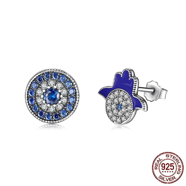 Aokarry 925 Sterling Silver Blue White Cubic Zirconia Hamsa Stud Earrings for Women Girls Silver