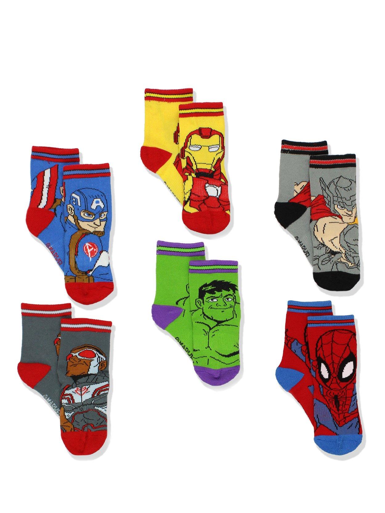 Super Hero Adventures Spider-Man Boys 6 pack Athletic Crew Socks (2T-3T, Multi)