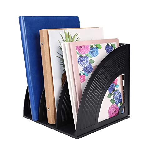 per documenti divisori per documenti e documenti Portariviste da scrivania a 4 scomparti struttura in plastica robusta portadocumenti da scrivania riviste e libri 3 Slot Beige
